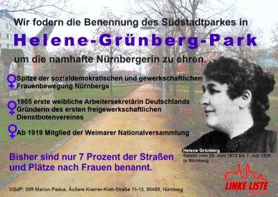 """Postkarte: Forderung nach einem """"Helene-Grünberg-Park"""""""