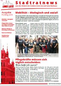 Titelseite der Stadtratnews Frühling 2019
